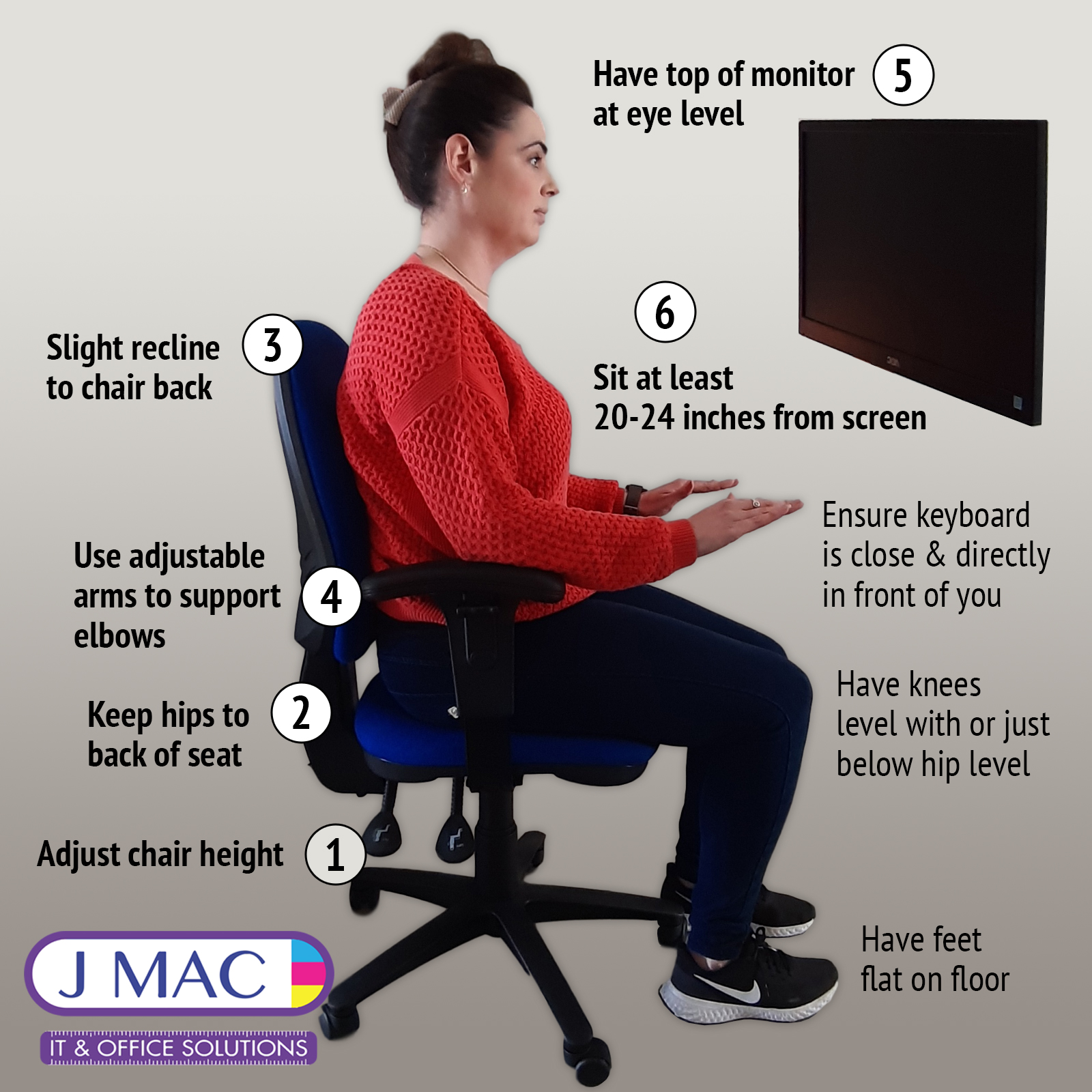6 Simple Steps To A Good Sitting Posture While Working Jmac It Office Solutions Ireland